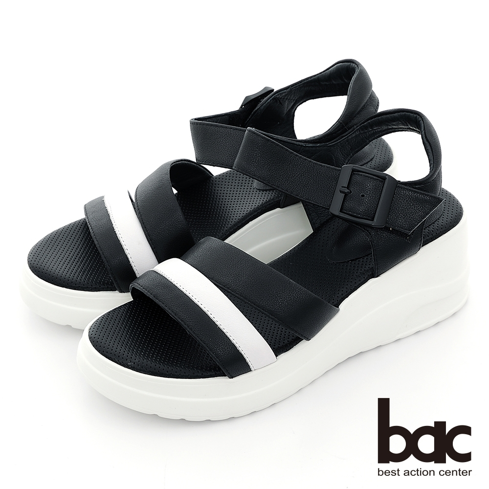 【bac】配色一字帶厚底運動休閒涼鞋-黑