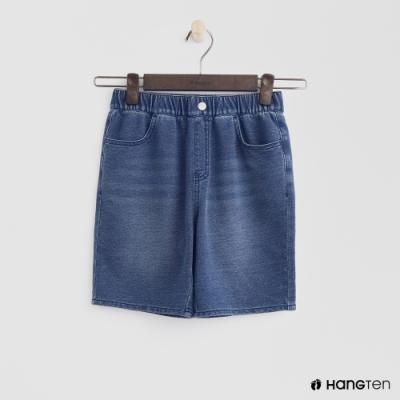 Hang Ten -童裝 - 鈕扣鬆緊仿牛仔短褲 - 藍