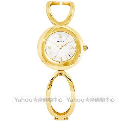 SIGMA 閃耀晶鑽珍珠貝時尚手錶-白X金/25mm