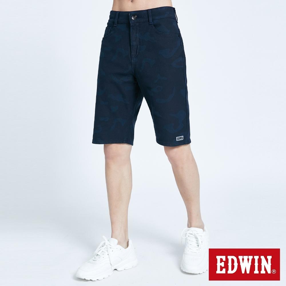 EDWIN JERSEYS 迦績 EJ3 透氣迷彩短褲-男-黑藍色