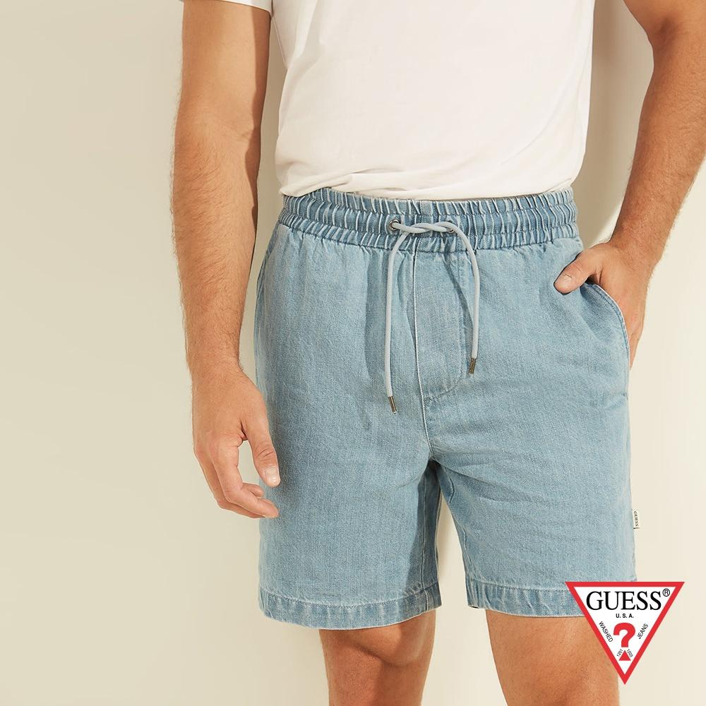GUESS-男裝-素面亞麻混紡牛仔短褲-淺藍 原價2090