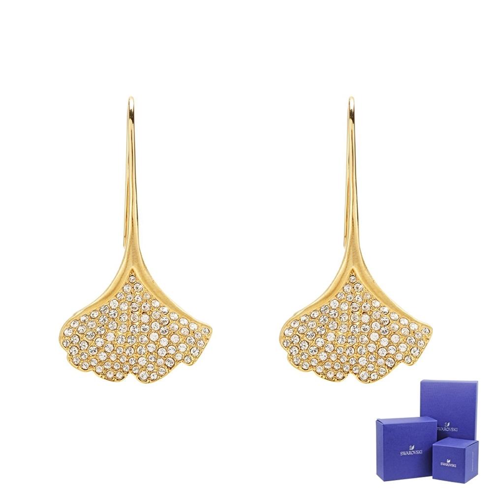 SWAROVSKI 施華洛世奇 Stunning璀璨水晶銀杏造型金色垂墜耳環