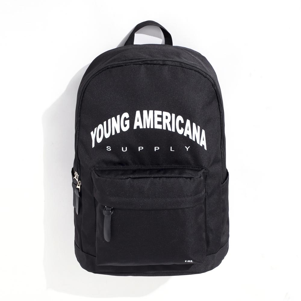 Y.A.S 街頭潮流實用後背包-LOGO款黑