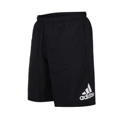 adidas 男運動短褲-平織 慢跑 路跑 愛迪達 黑白