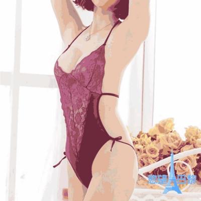慾望巴黎 D3380 熱賣情趣内衣蕾絲胸前鏤空性感内衣連身三點式  送跳蛋