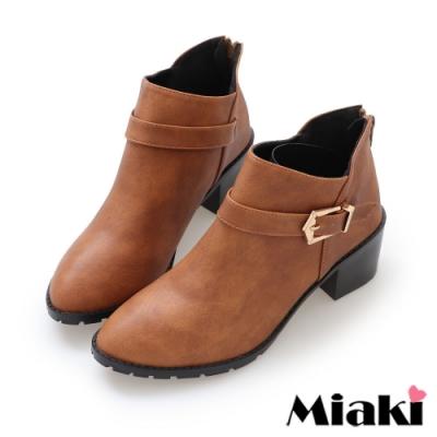Miaki-短靴秋冬首選尖頭中跟踝靴-棕
