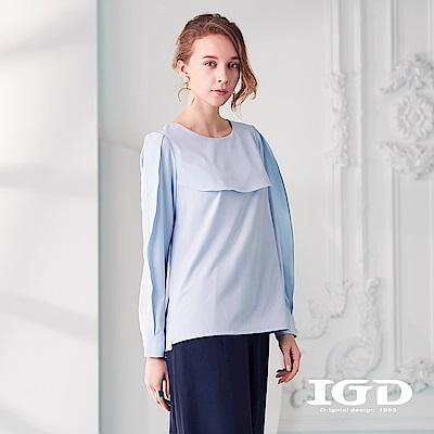 IGD英格麗 清爽剪接襯衫袖上衣-水藍