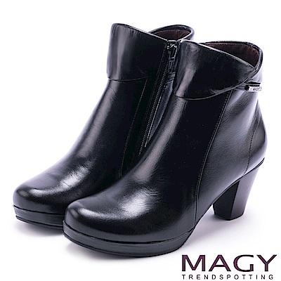 MAGY 經典復古樂活 白鑽LOGO牛皮粗跟短靴-黑色