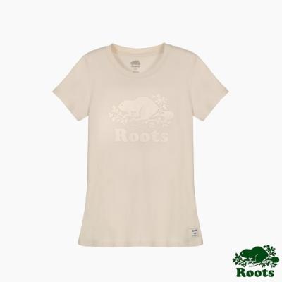 Roots女裝-絲絨風采系列 絲絨海狸修身短袖T恤-米白色