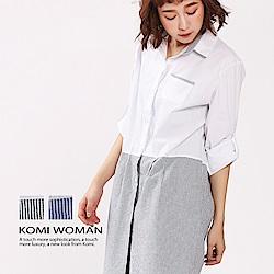 【KOMI】精緻棉條紋拼搭襯衫洋裝