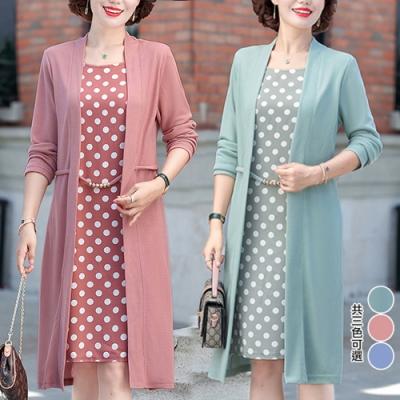 【KEITH-WILL】(預購)文藝魅力點點假二件式洋裝(共3色)