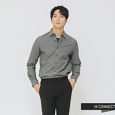 H:CONNECT 韓國品牌 男裝-素面柔軟棉質襯衫-綠