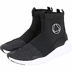 MCQ Hikaru 小牛皮拼接輕質鞋底襪套運動鞋(男款/黑色)
