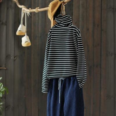 高領條紋毛衣寬鬆堆領針織衫內搭上衣-設計所在