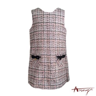 Annys可愛氣質小香風金蔥針織雙口袋背心洋裝*7624粉