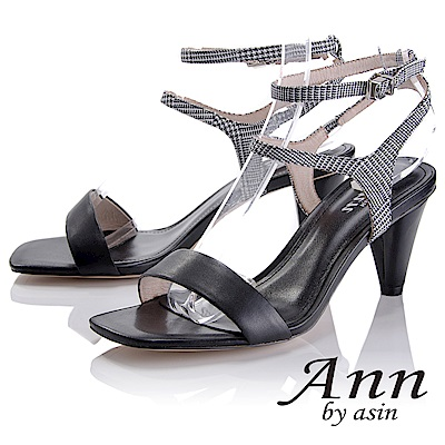 Ann by asin 摩登時尚~格紋雙腳踝帶真皮軟墊高跟涼鞋(黑色)