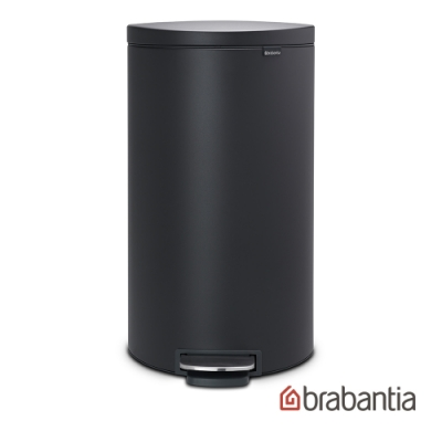 【Brabantia】Flatback半月腳踏式垃圾桶30L-爵士灰