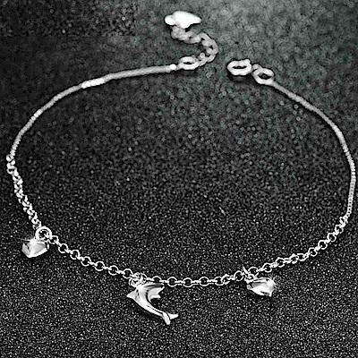 米蘭精品 925純銀腳鍊-抛光愛心海豚