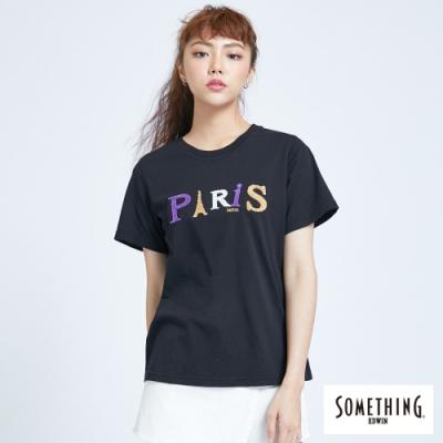 SOMETHING 巴黎字母配色 短袖T恤-女-黑色