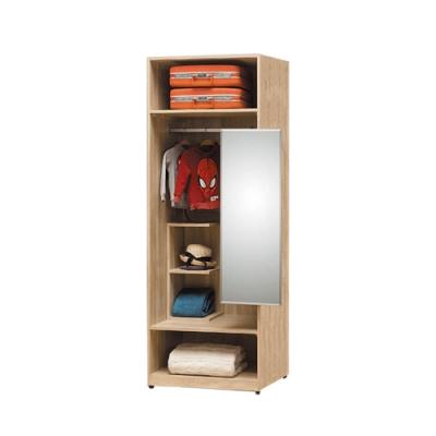 柏蒂家居-瑞莎2.5尺開放式附鏡衣櫃-75x60x197cm