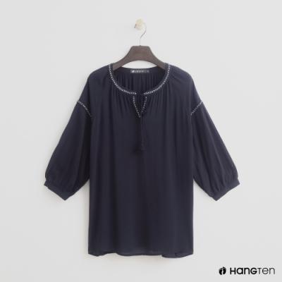 Hang Ten -女裝 - 綁帶花邊造型上衣 - 藍