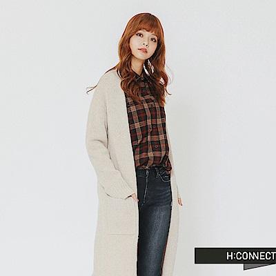 H:CONNECT 韓國品牌 女裝-雙口袋開襟針織外套-卡其