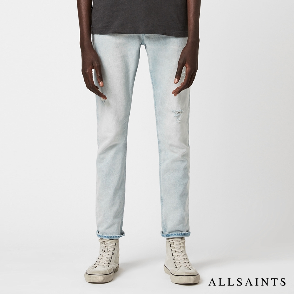 ALLSAINTS REX 經典破壞中腰修身棉質牛仔褲-淺靛藍