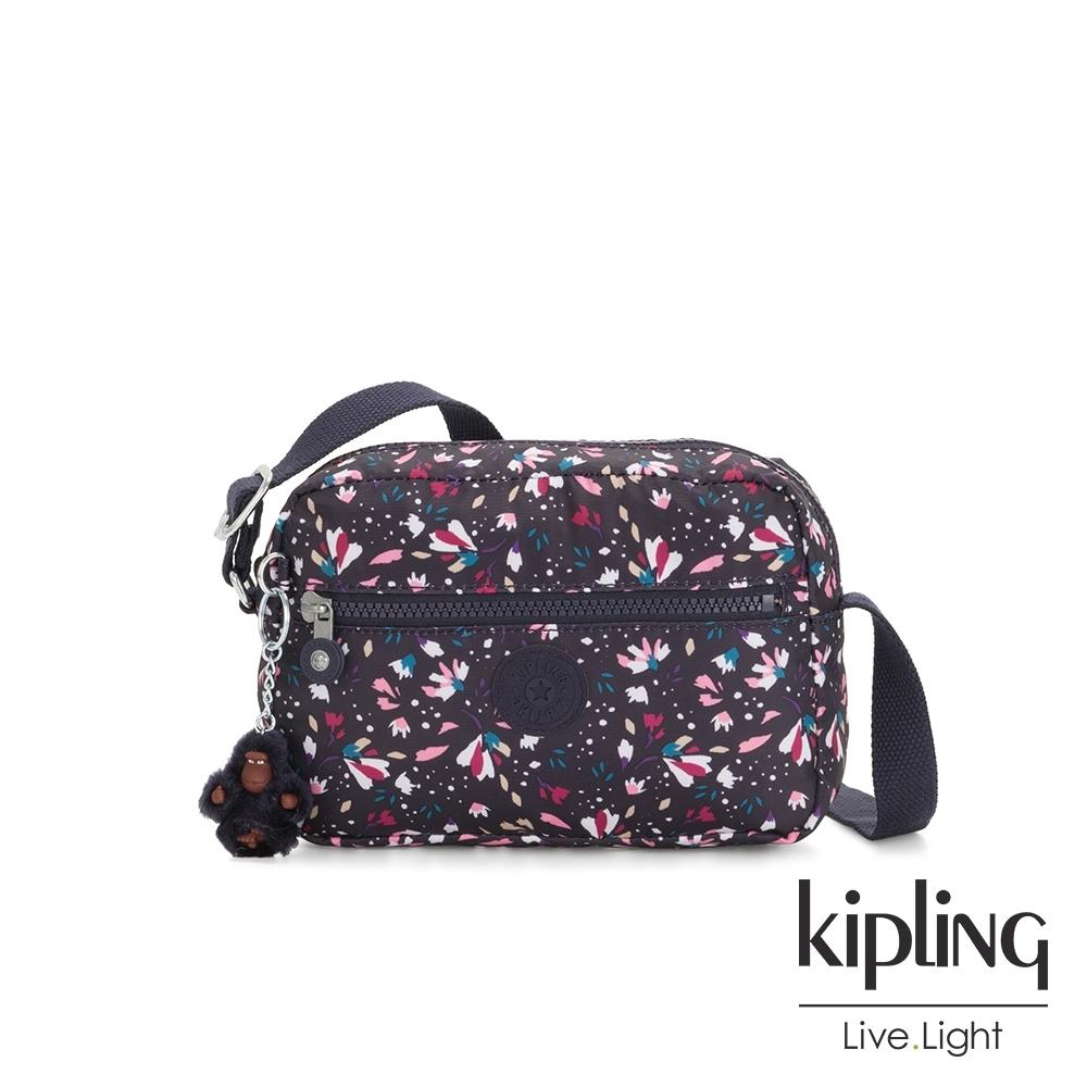 Kipling 絢麗百花簡約斜背方包-ROBIN