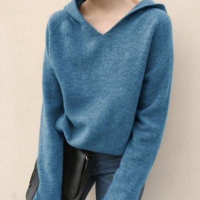 La Belleza素色V領捲邊下擺袖子包心紗連帽針織毛衣