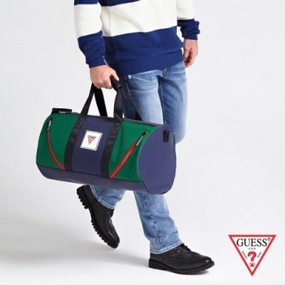 GUESS-男包-撞色時尚手提旅行包-深藍