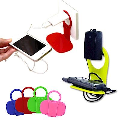 kiret 輕量型 手機架 手機充電-超值3入折疊 插座式-多色隨機