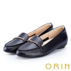 ORIN 女紳時尚 金屬鍊扣牛皮樂福鞋-黑色