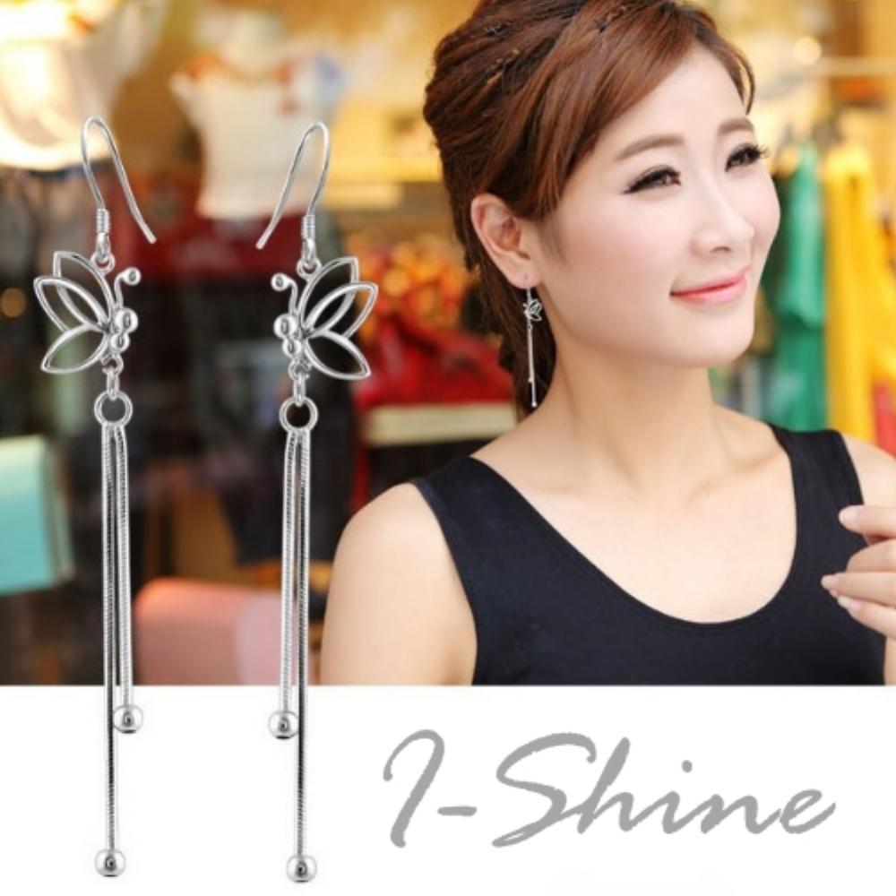 I-Shine-翩翩飛舞-簍空蝴蝶鍍銀流蘇耳環AH05