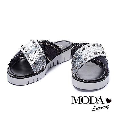 拖鞋 MODA Luxury 異材質金屬鉚釘水鑽飾交叉帶厚底拖鞋-黑