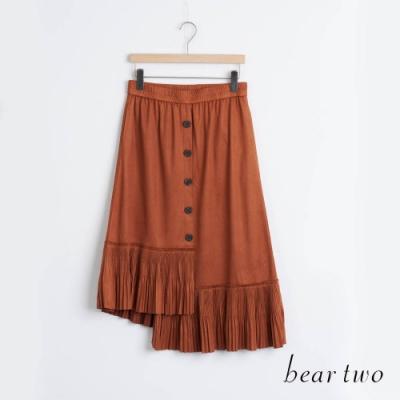 bear two- 不對稱剪接百褶裙擺 - 咖啡