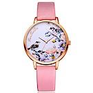 蜜糖花朵與鳥共舞彩繪風手錶 (4色任選)