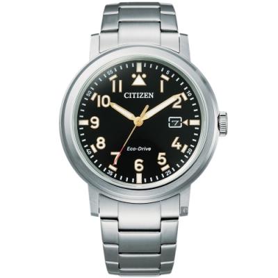 CITIZEN 星辰 光動能日系時尚手錶-黑/40mm(AW1620-81E)
