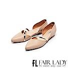 Fair Lady優雅小姐Miss Elegant金屬斜帶側挖空尖頭低跟鞋 粉
