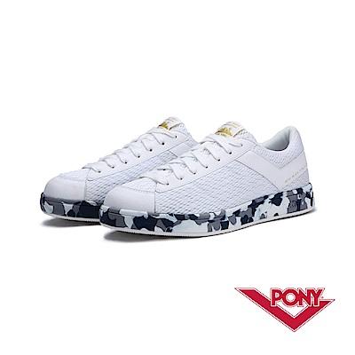 【PONY】PRO EG系列-迷彩風格滑板鞋款-男-白