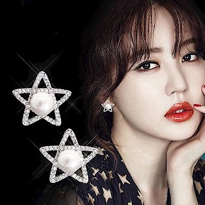 梨花HaNA韓國925銀滿鑽五角星細緻珍珠耳環