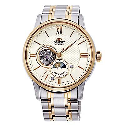 ORIENT 日月相藍寶石手動上鍊機械腕錶(RA-AS0001S00B)-金x40mm