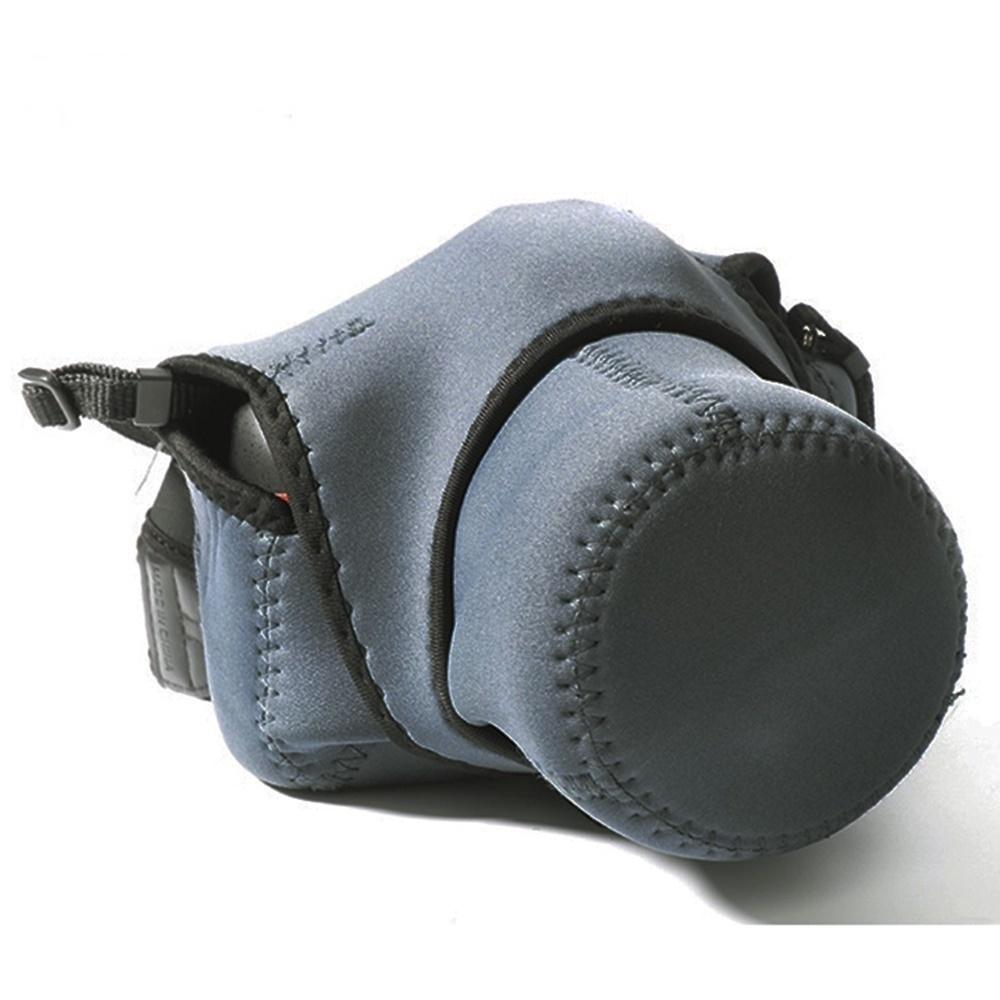 (中號灰黑兩用)彈性輕便相機包輕單微單眼相機內膽包003-1M(立體剪裁,潛水布材質)保護袋相機袋