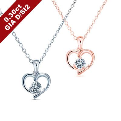 艾尼希亞鑽石 GIA D/SI2 30分 18K愛心鑽石項鍊