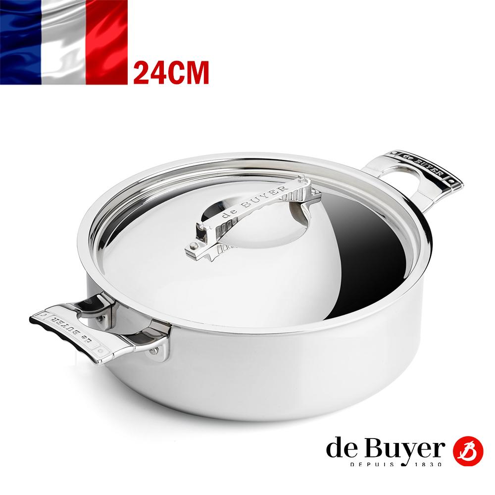 de Buyer畢耶 藍嶽頂級系列-雙握耳平煎炒鍋24cm