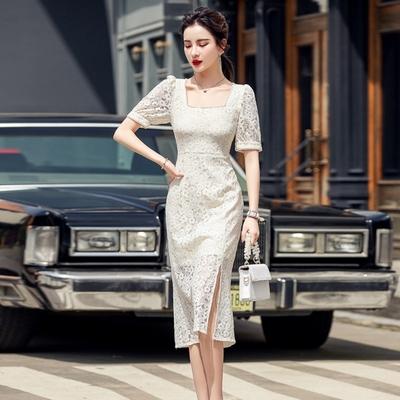 優雅法式復古方領珠邊蔓花蕾絲開衩洋裝S-XL-Sexy Devil