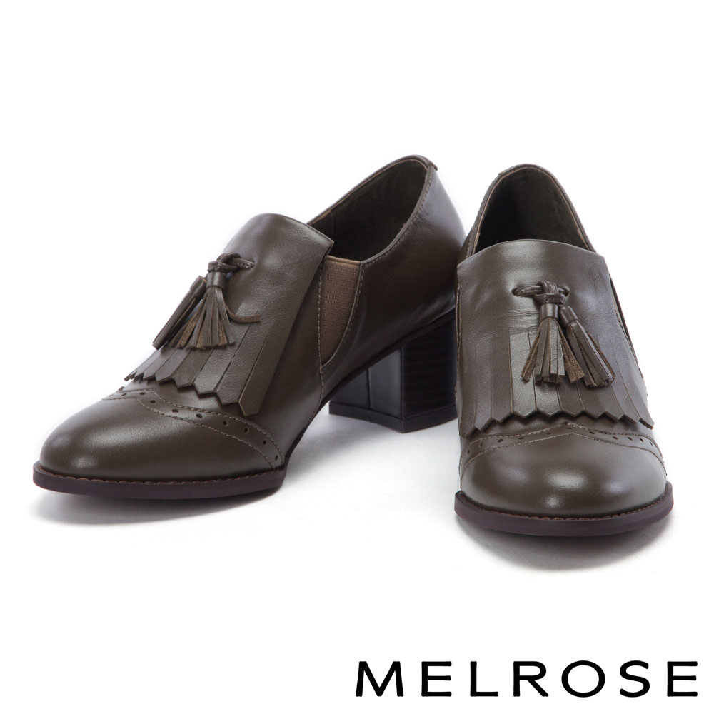 高跟鞋 MELROSE 率性迷人流蘇設計牛津高跟鞋-綠