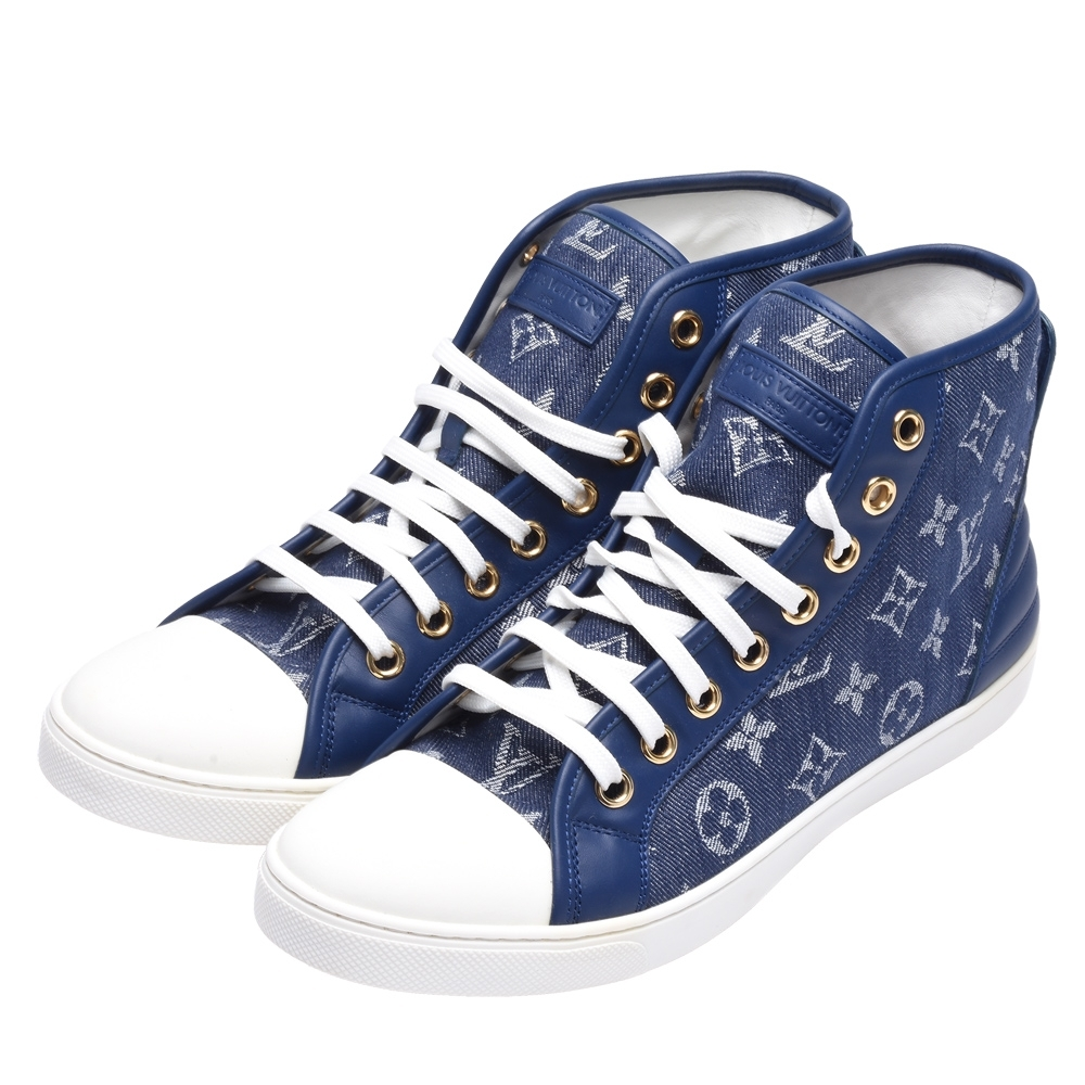 LV MS0126 Monogram印花牛仔單寧布高統休閒鞋(藍)