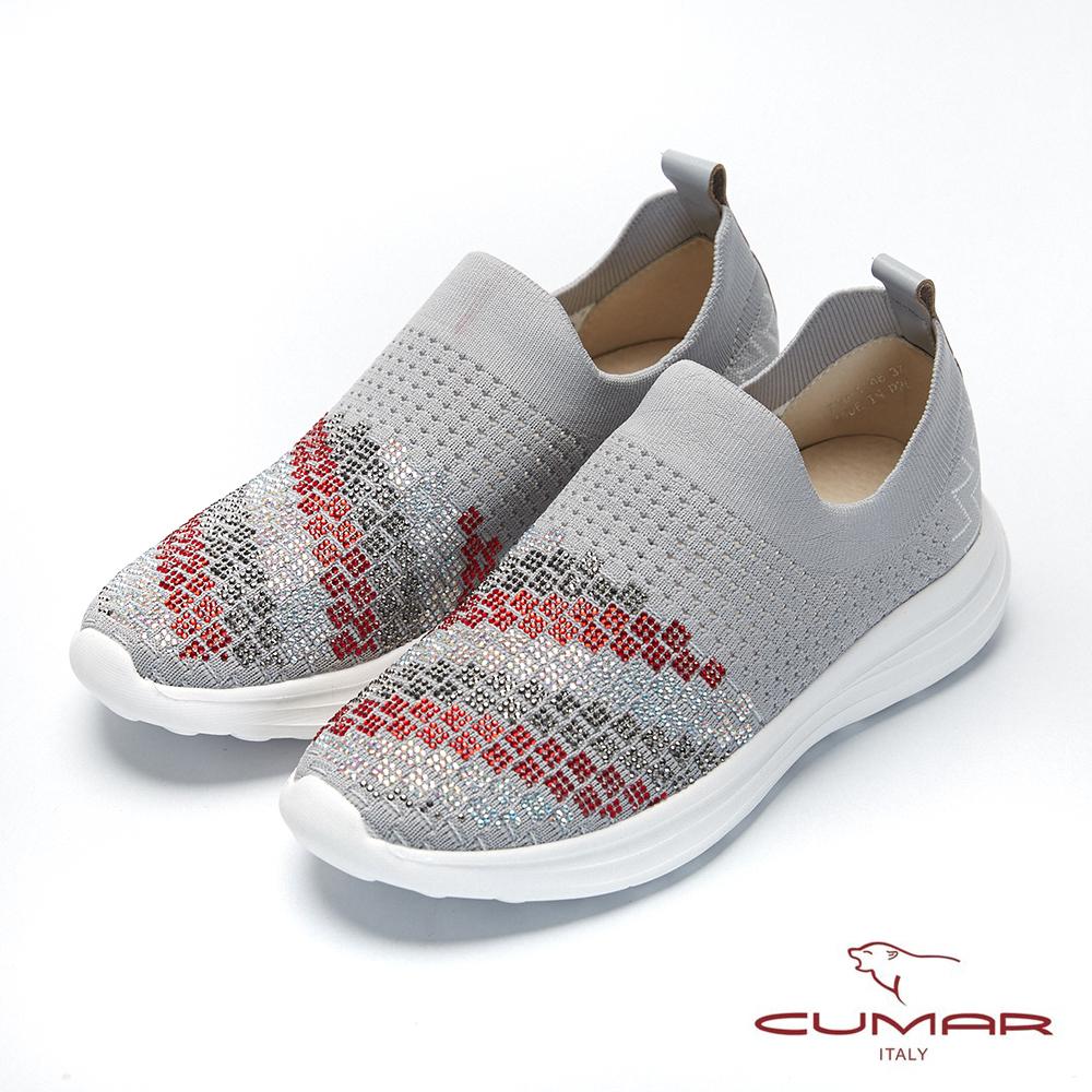 【CUMAR】悠遊輕井澤- 彈力飛織布碎鑽裝飾休閒鞋-銀灰