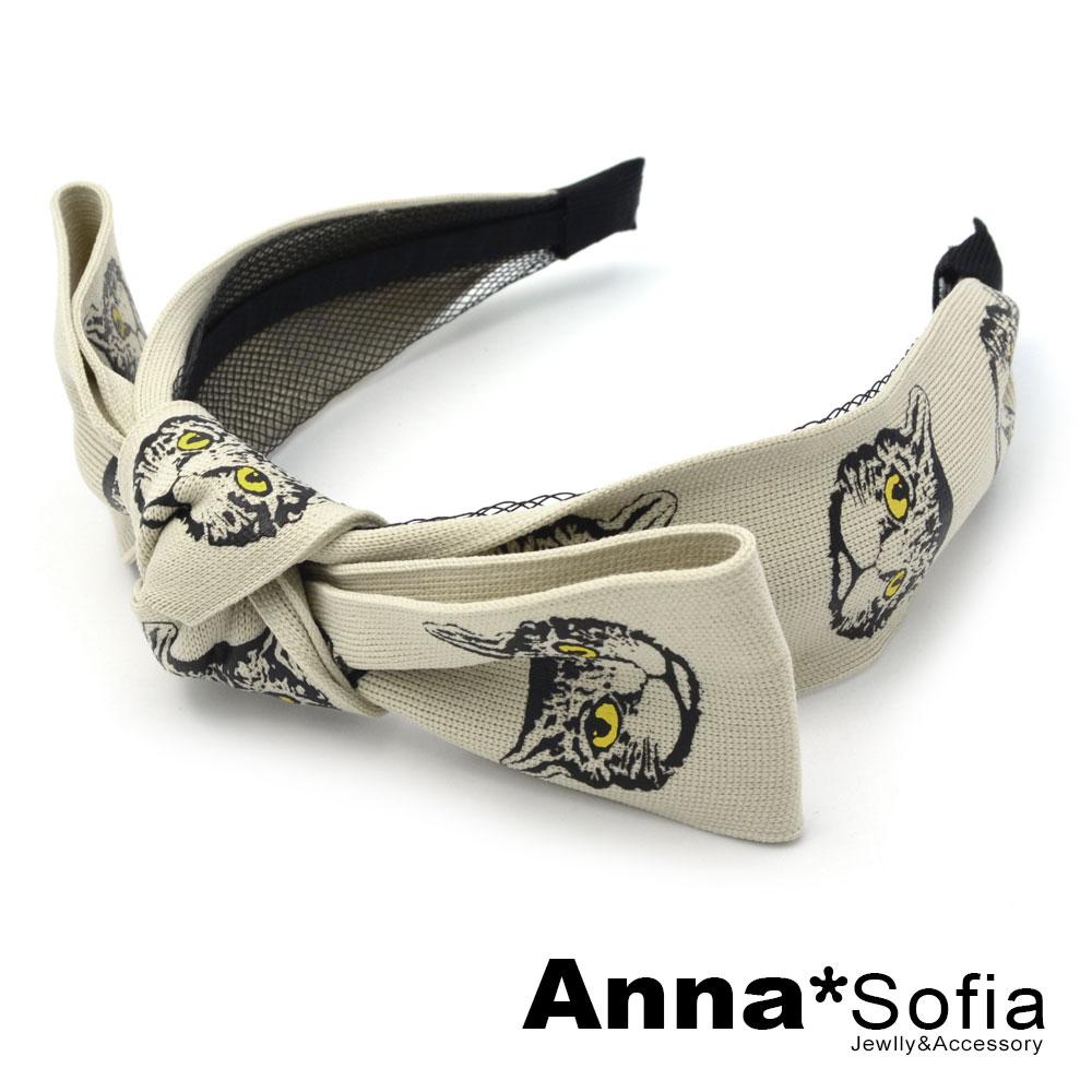 【3件480】AnnaSofia 復古貓頭緞帶結 韓式寬髮箍(黃眼系)