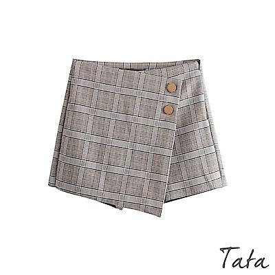 格紋裝飾釦短褲裙 TATA